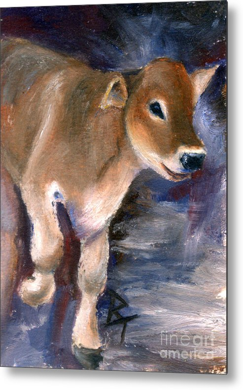 Cow Metal Print featuring the painting Brown Swiss Calf Aceo by Brenda Thour