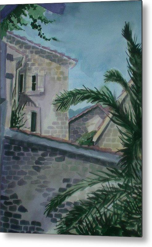 Montenegro Metal Print featuring the painting Budva Old Town by Aleksandra Buha