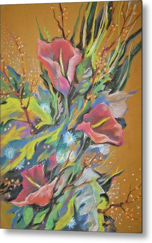 Bouquet Metal Print featuring the pastel Bunch Of Flowers by Olena Chernyshova