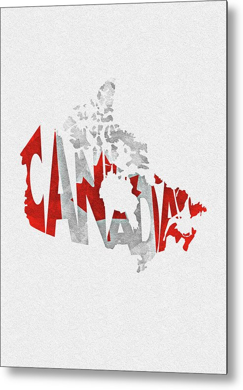 Canada Map Flag.Canada Typographic Map Flag Metal Print By Inspirowl Design