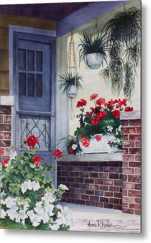 Floral Metal Print featuring the painting Cheery Welcome by Anne Rhodes