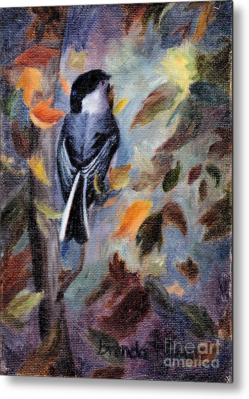Bird Metal Print featuring the painting Chickadee In The Fall by Brenda Thour