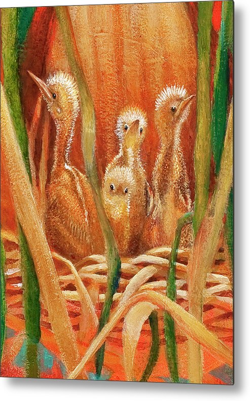 Bittern Young Metal Print featuring the painting Chicks In The Reeds by Ruth Canada