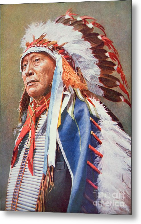 Chief Metal Print featuring the painting Chief Hollow Horn Bear by American School