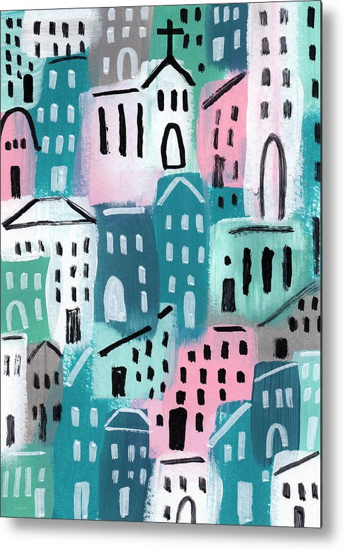 Church Metal Print featuring the painting City Stories- Church On The Hill by Linda Woods