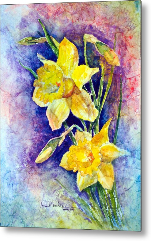 Daffodils Metal Print featuring the painting Daffodils by Anne Rhodes