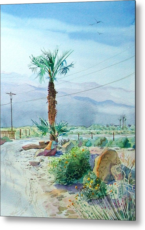 Watercolor Metal Print featuring the painting Desert Palm by John Norman Stewart