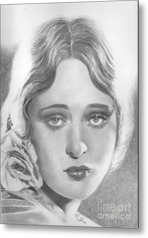 Dolores Costello Metal Print featuring the drawing Dolores Costello by Karen Townsend