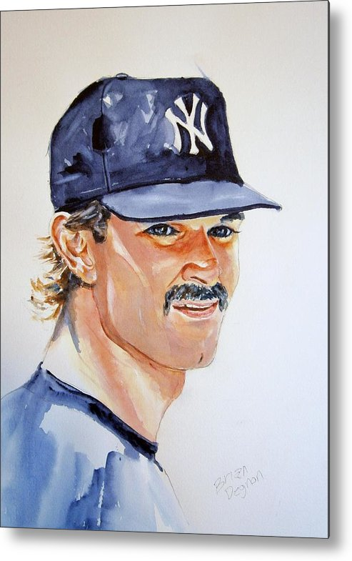 Mattingly Metal Print featuring the painting Don Mattingly by Brian Degnon