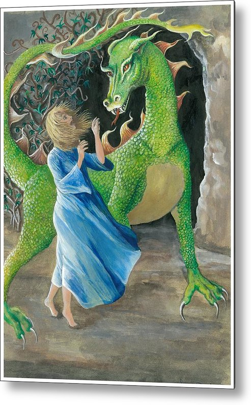 Dragon Metal Print featuring the painting Dragon Princess 2 by Sally Balfany