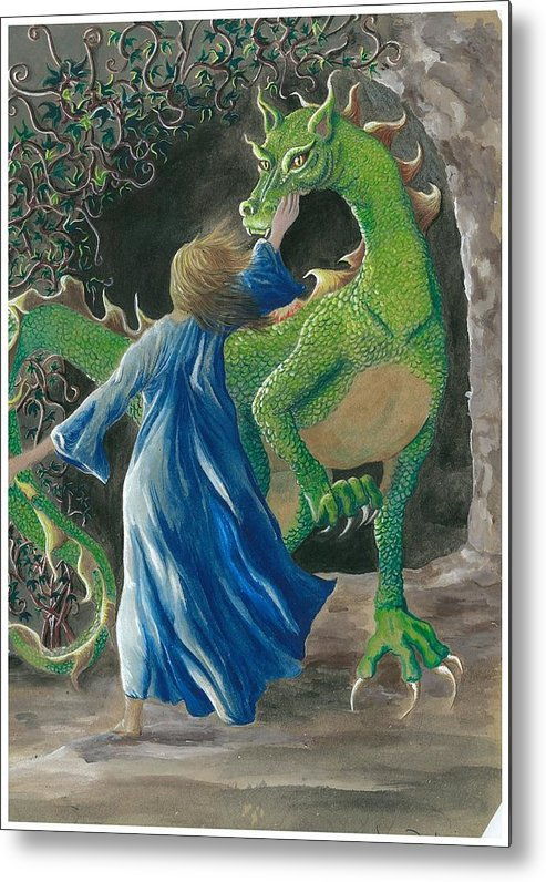Dragon Metal Print featuring the painting Dragon Princess 3 by Sally Balfany