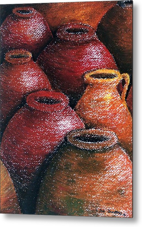 Earthen Metal Print featuring the painting Earthen Vessels Iv by Jun Jamosmos