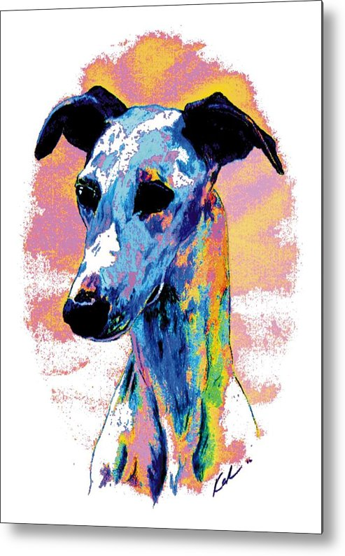 Electric Whippet Metal Print featuring the digital art Electric Whippet by Kathleen Sepulveda
