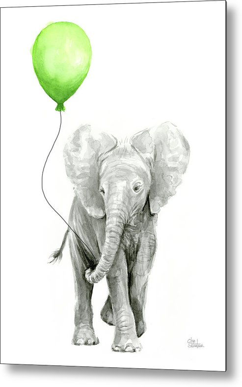 Elephant Metal Print Featuring The Painting Elephant Watercolor Green  Balloon Kids Room Art By Olga Shvartsur