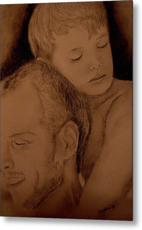 Portrait Metal Print featuring the painting Father And Son by Glory Fraulein Wolfe