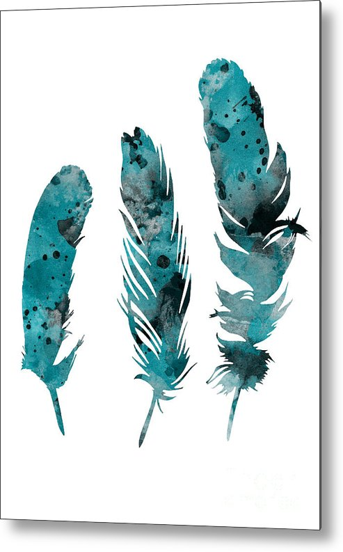 Feathers Metal Print featuring the painting Feathers Watercolor Painting by Joanna Szmerdt