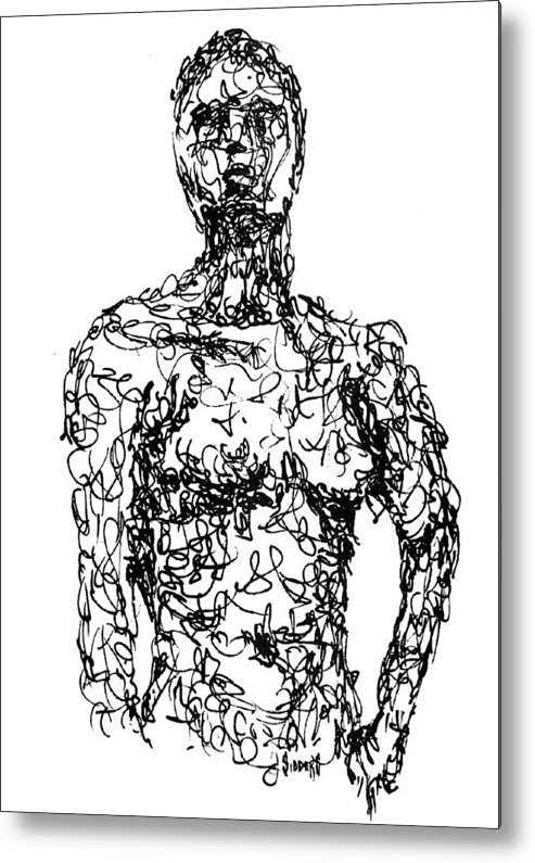 Figure Metal Print featuring the drawing Figure by Sam Sidders