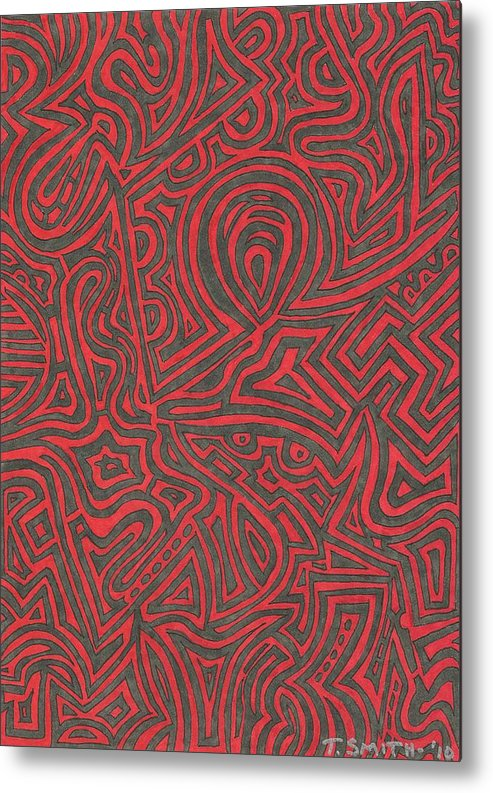 Abstract Metal Print featuring the drawing File 010 by Terri Smith