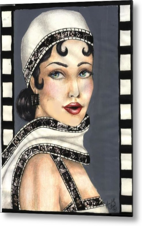 Portrait Metal Print featuring the drawing Film 2 by Scarlett Royal