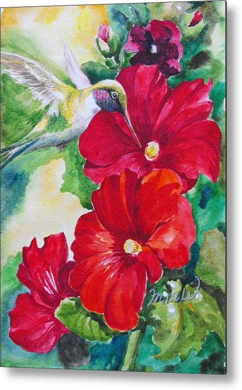 Floral Metal Print featuring the painting Floral Series 5 by Min Wang
