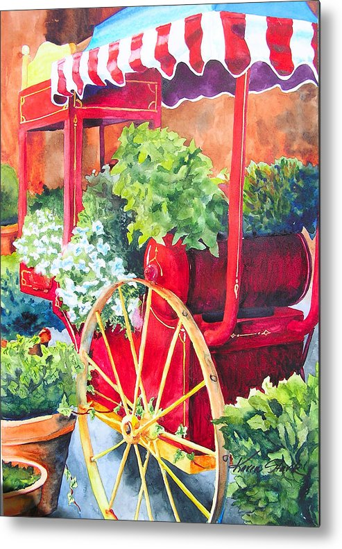 Floral Metal Print featuring the painting Flower Wagon by Karen Stark