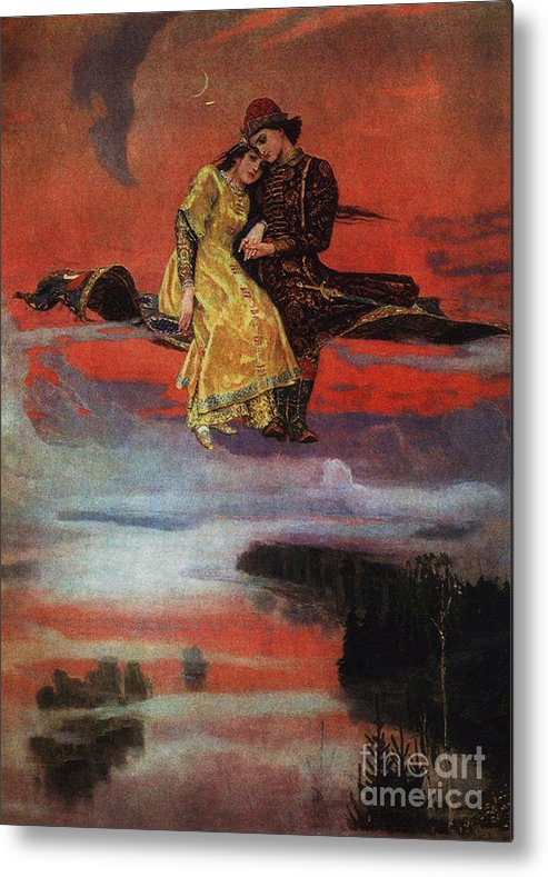 Magic Carpet Metal Print featuring the painting Flying Carpet by Victor Mikhailovich Vasnetsov