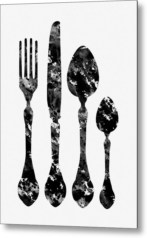 Fork Knife And Spoon Metal Print featuring the digital art Fork Knife And Spoon by Erzebet S
