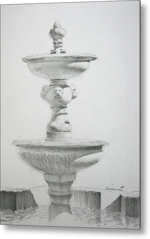 Graphite On Paper Metal Print featuring the drawing Fountain One by Michael Vires