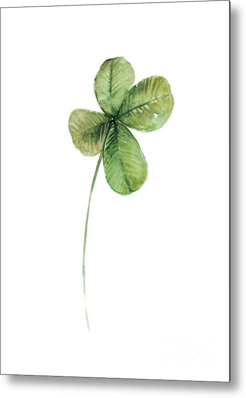 Clover Metal Print featuring the painting Four Leaf Clover Watercolor Poster by Joanna Szmerdt