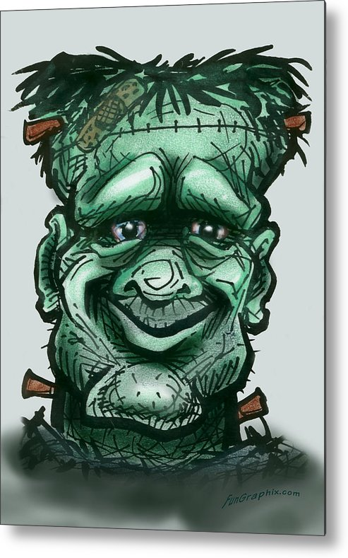 Frankenstein Metal Print featuring the greeting card Frankenstein by Kevin Middleton