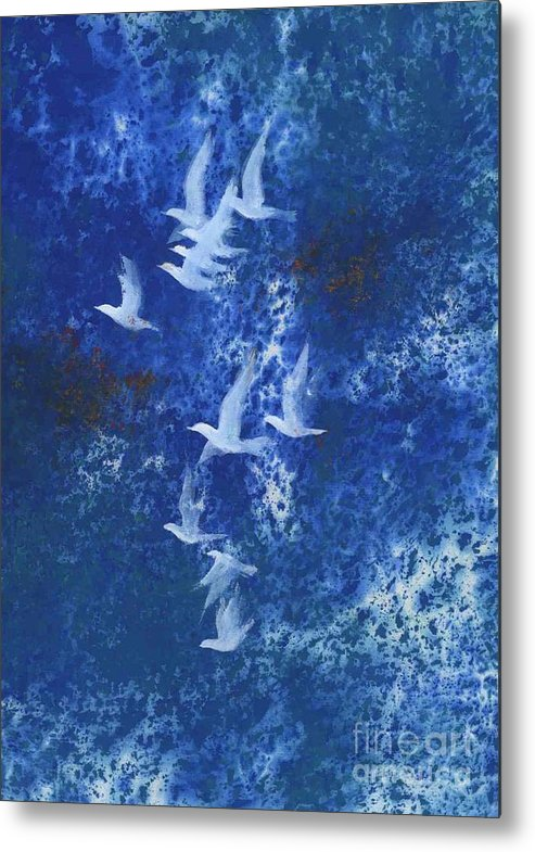A Flight Of Doves Flying In Blue Sky. This Is A Contemporary Chinese Ink And Color On Rice Paper Painting With Simple Zen Style Brush Strokes.  Metal Print featuring the painting Free by Mui-Joo Wee