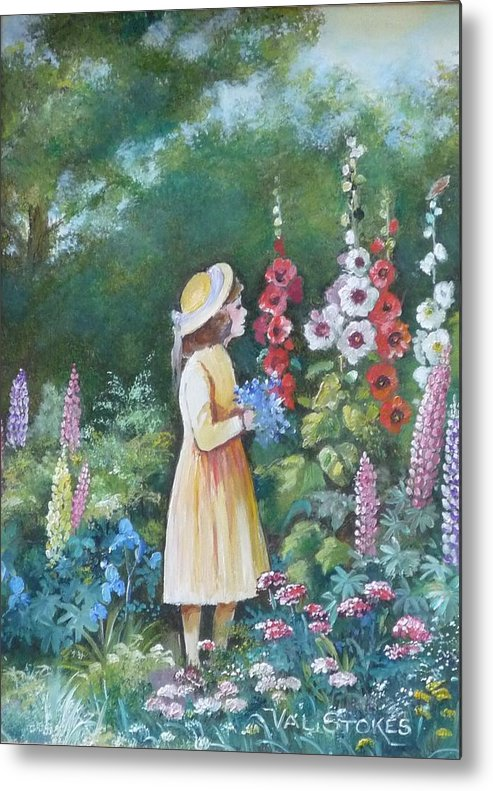 Small Firl Metal Print featuring the painting Garden Walk - C by Val Stokes