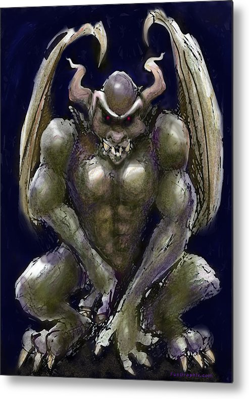Gargoyle Metal Print featuring the greeting card Gargoyle by Kevin Middleton