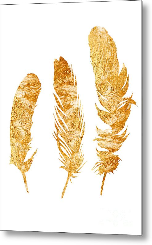 Three Metal Print featuring the painting Gold Feathers Watercolor Painting by Joanna Szmerdt