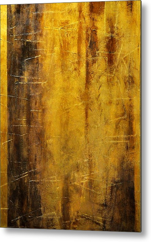 Art Arkansas Metal Print featuring the painting Golden Discovery by Nicky Dou