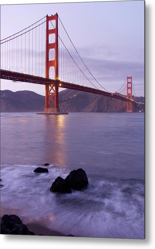 Golden Gate Metal Print featuring the photograph Golden Gate Bridge At Dusk by Mathew Lodge
