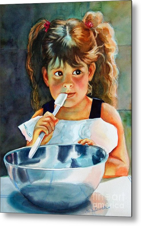 Child Metal Print featuring the painting Grandma's Helper by Gail Zavala