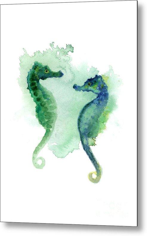 Seahorses Metal Print featuring the painting Green Blue Seahorses Watercolor Art Print by Joanna Szmerdt
