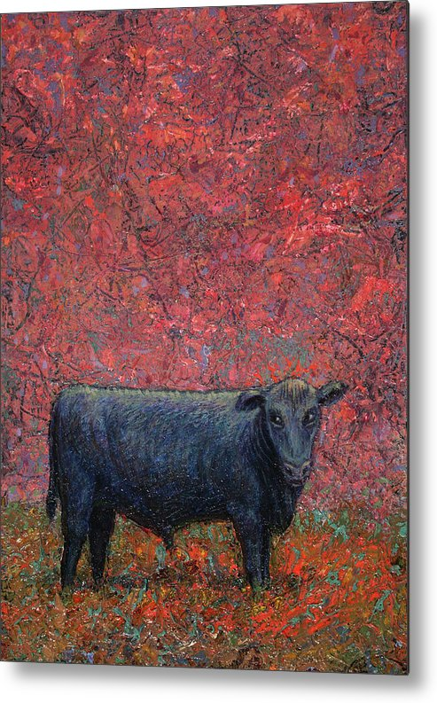 Cow Metal Print featuring the painting Hamburger Sky by James W Johnson