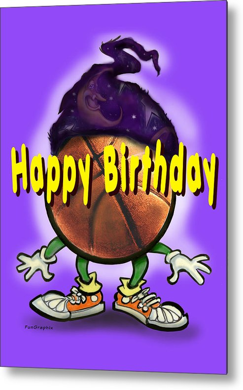 Happy Birthday Metal Print featuring the greeting card Happy Birthday Basketball Wiz by Kevin Middleton