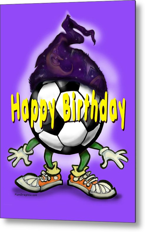 Soccer Metal Print featuring the greeting card Happy Birthday Soccer Wizard by Kevin Middleton