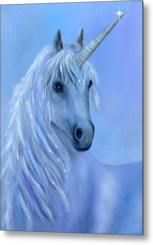 Unicorn Metal Print featuring the painting Healing Unicorn by Sundara Fawn