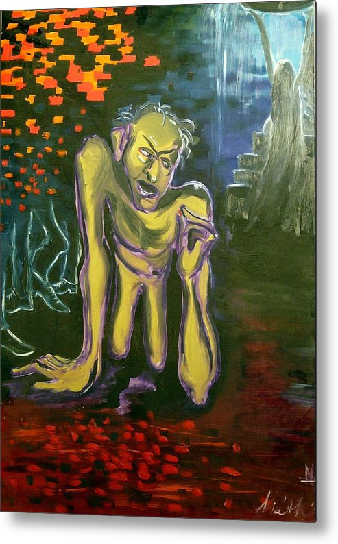 Surrealist Metal Print featuring the painting His Highness by Zsuzsa Sedah Mathe