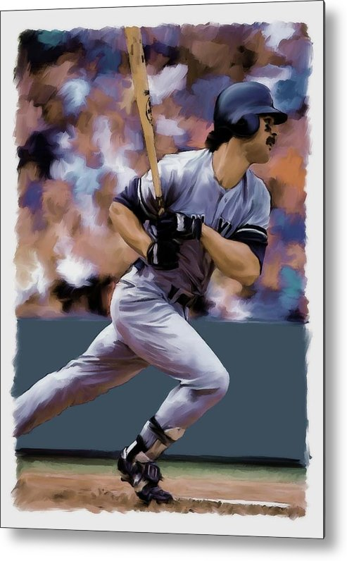 Don Mattingly Metal Print featuring the painting Hit Man Don Mattingly by Iconic Images Art Gallery David Pucciarelli