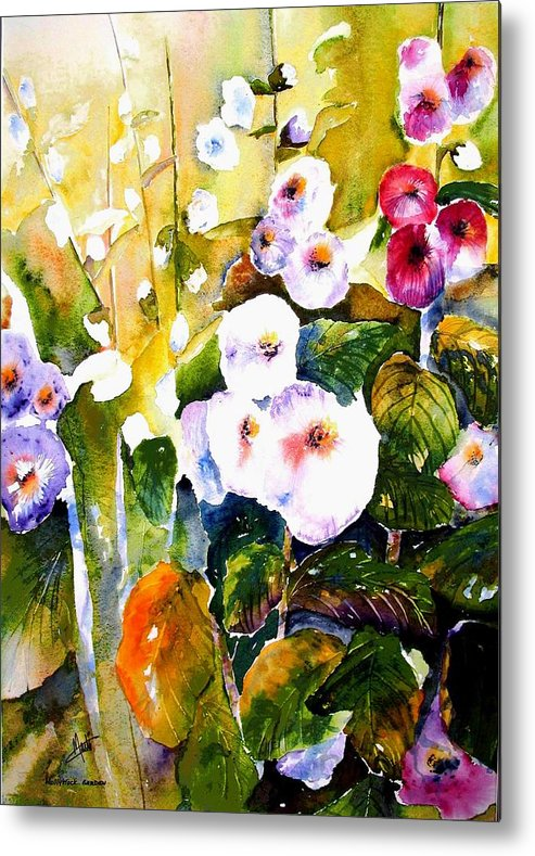 Hollyhock Metal Print featuring the painting Hollyhock Garden 1 by Marti Green