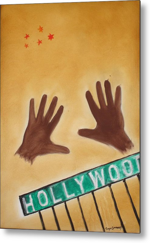 Cinema Film Metal Print featuring the painting Hollywood by Roger Cummiskey