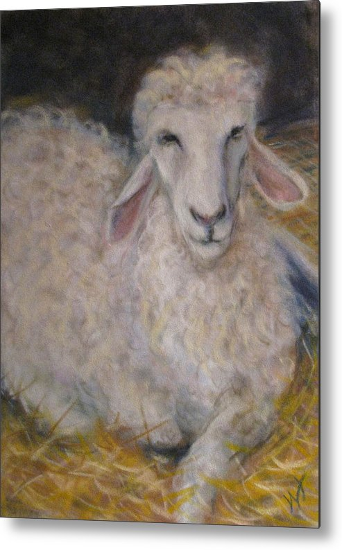 Sheep Metal Print featuring the pastel How Did I End Up Here by Wendie Thompson