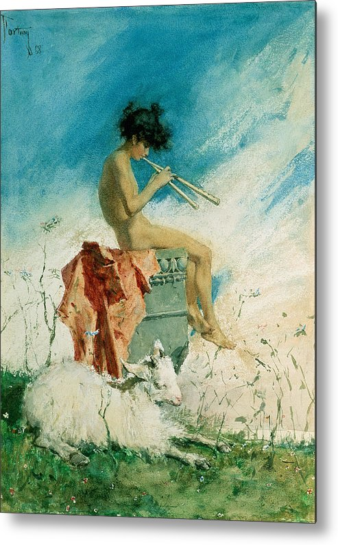 Idyll Metal Print featuring the painting Idyll by Mariano Fortuny y Marsal