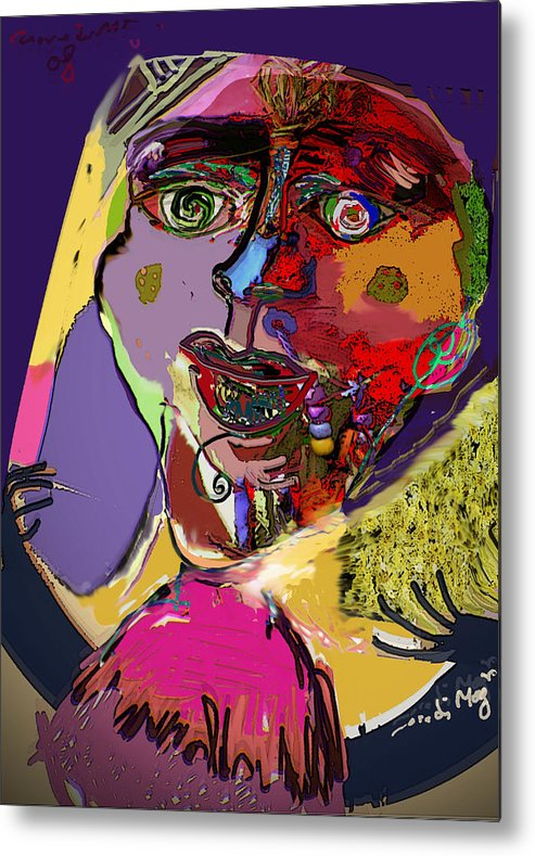 Mask Metal Print featuring the painting I'm Not What You Think I'm by Noredin Morgan