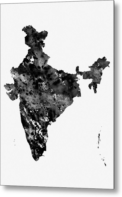 India Map Metal Print featuring the digital art Map Of India-black by Erzebet S